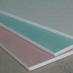 Detalhe de uma placa de Drywall (gesso acartonado)
